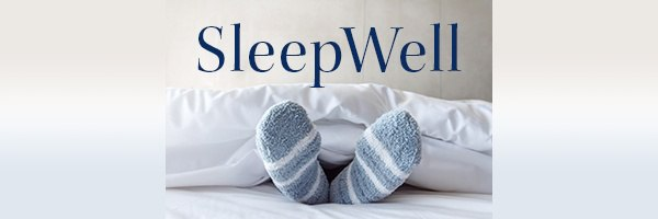 SleepWell Logo with Cozy Feet in Bed